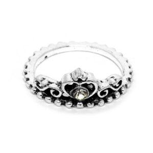 Anel Coroa e Coração de Prata Turca – ARO 17